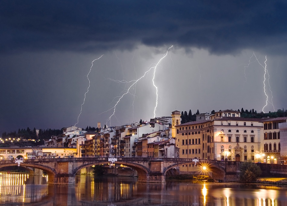 A piece of fine art art photography titled Thunderstorm Over Florence by Lev Tsimring
