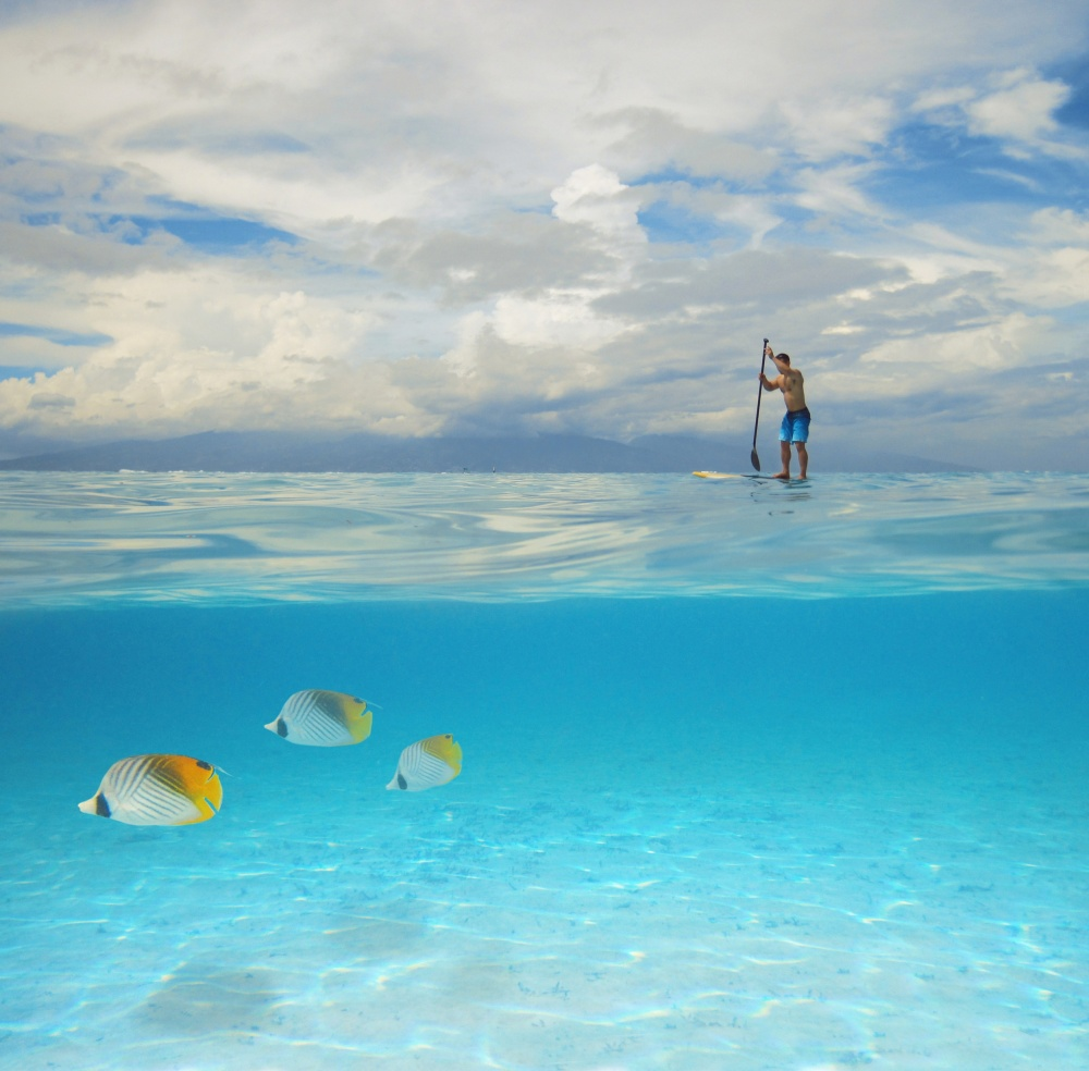 A piece of fine art art photography titled Bora Bora Blues by Samantha Tran