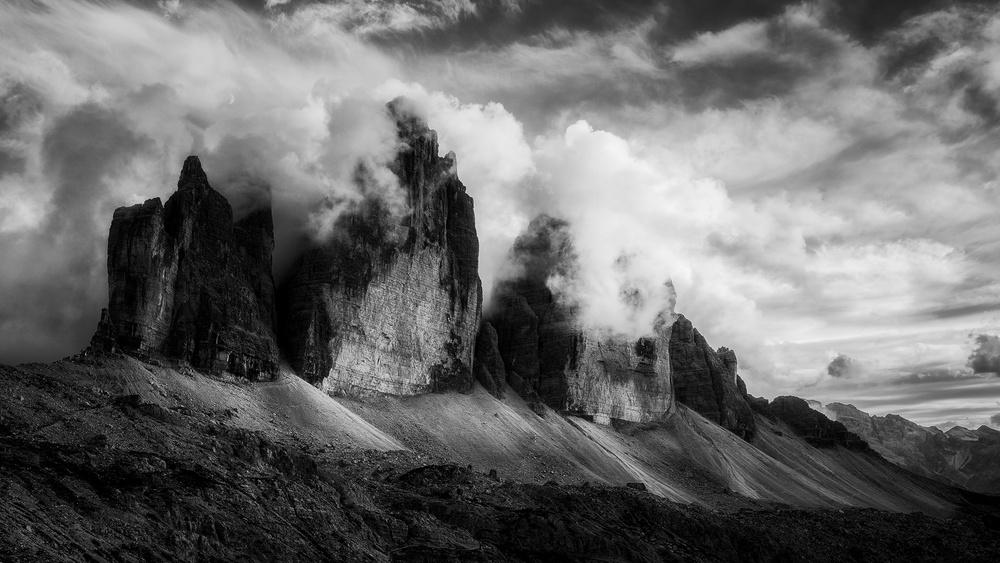 A piece of fine art art photography titled The Black Peaks by Daniel Fleischhacker