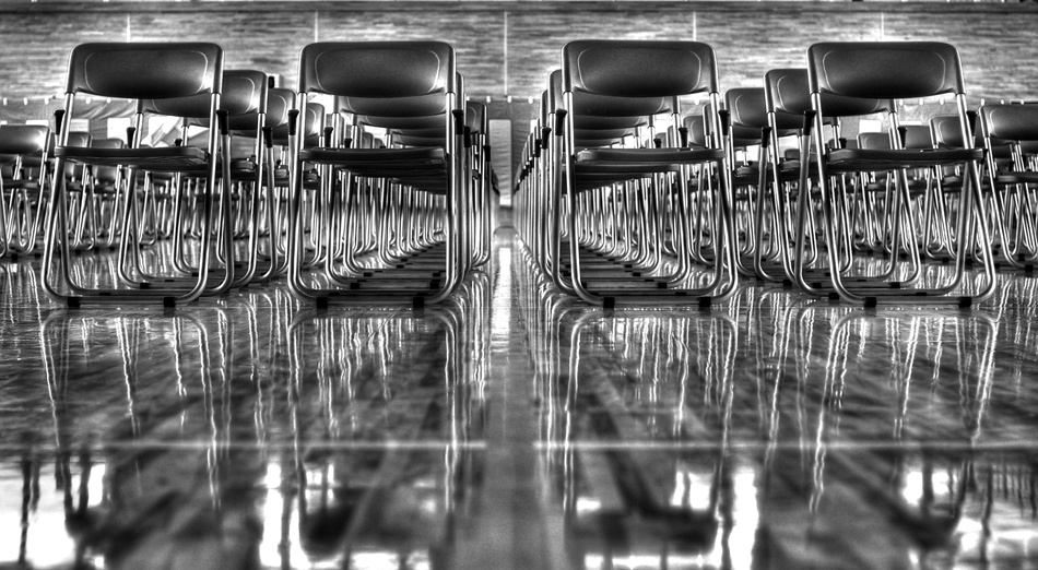 A piece of fine art art photography titled Regimented Chairs by Mark Montgomery