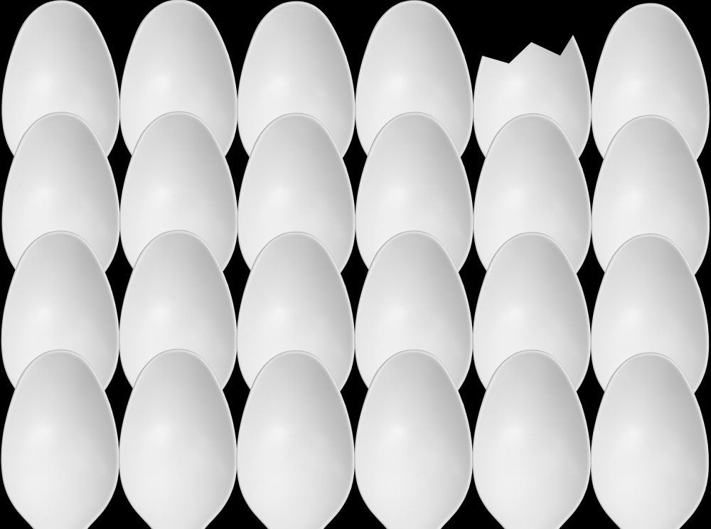 A piece of fine art art photography titled Spoons Abstract: Eggs by Jacqueline Hammer