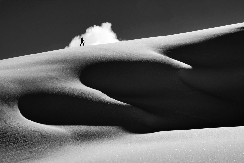 A piece of fine art art photography titled Hiking Within the Cloud by Andrea Gasparotto