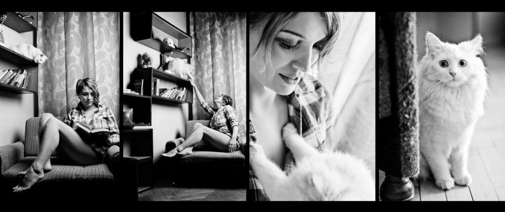 A piece of fine art art photography titled She and Her Cat by Golubeva Nataly