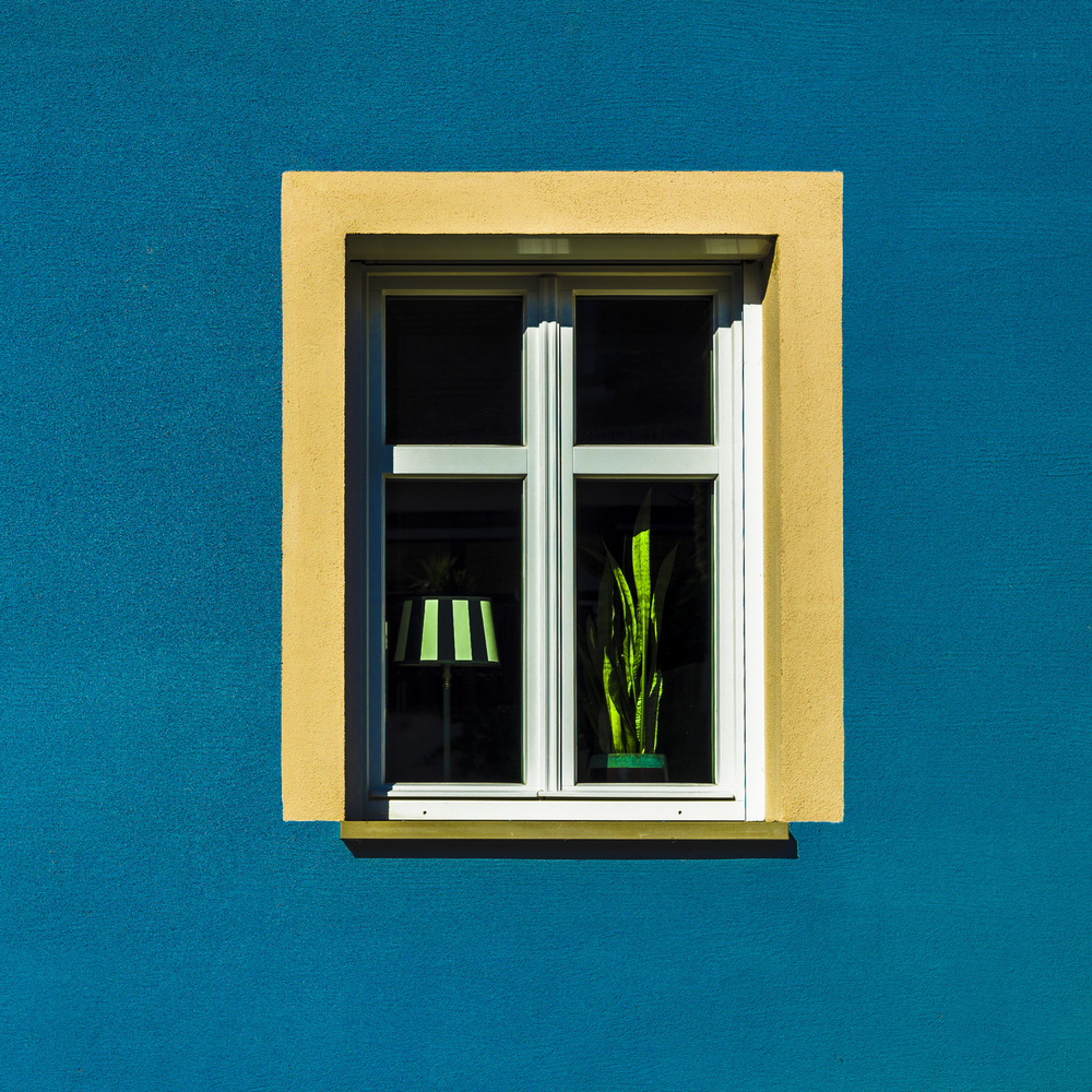A piece of fine art art photography titled Window, Lamp, Plant by minimalist