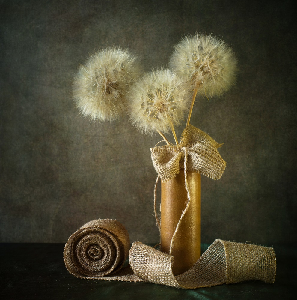 View this piece of fine art photography titled still life with dandelions by çiçek kıral