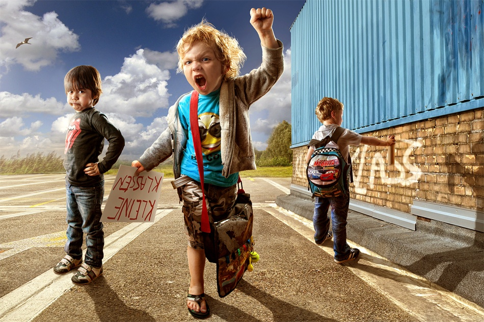 A piece of fine art art photography titled Child Protest by Adrian Sommeling