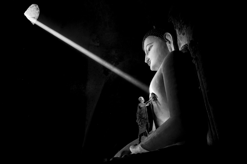 A piece of fine art art photography titled Cleaning the Buddha by Gunarto Song