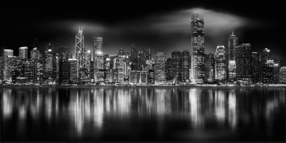 View this piece of fine art photography titled Hong Kong  Night Skyline BW by Nevrela George