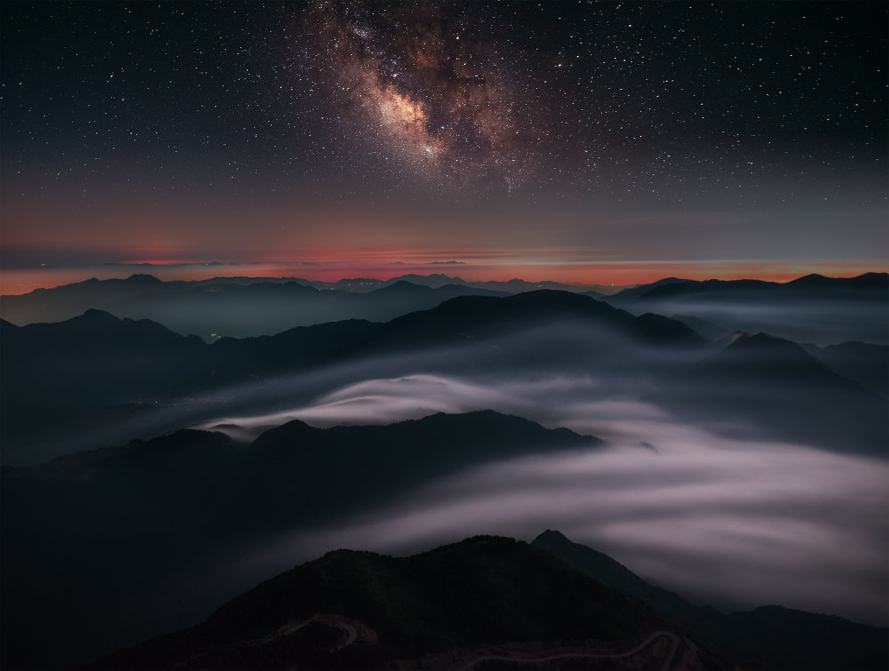 A piece of fine art art photography titled Evening On the  Top of Mountain by Feng Zhou