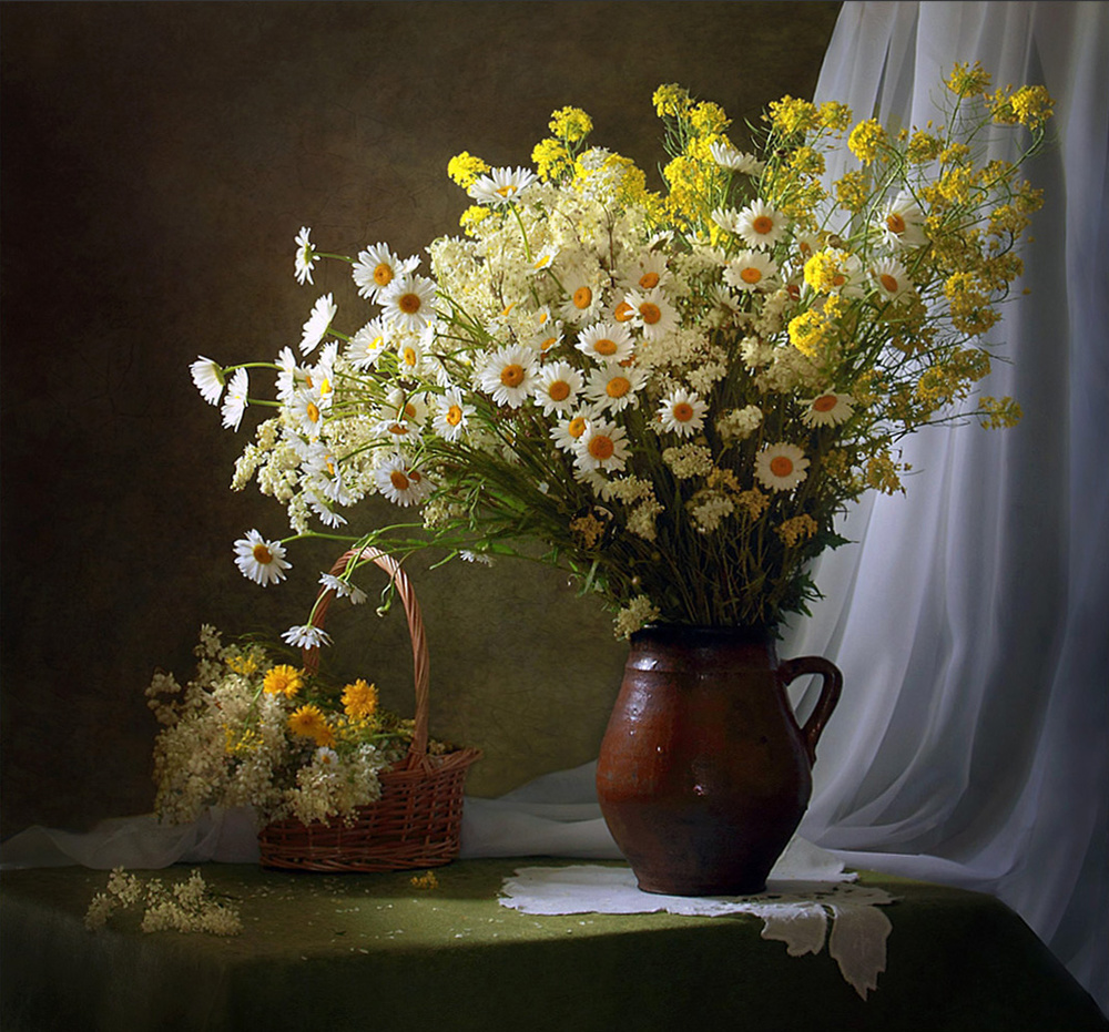 A piece of fine art art photography titled With a Bouquet of Meadow Flowers by Tatyana Skorokhod (Татьяна Скороход)