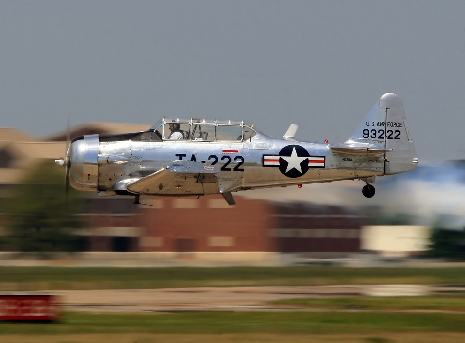 A piece of fine art art photography titled Bill Leff and His Amazing T-6 Texan Demonstration by David F. Brown
