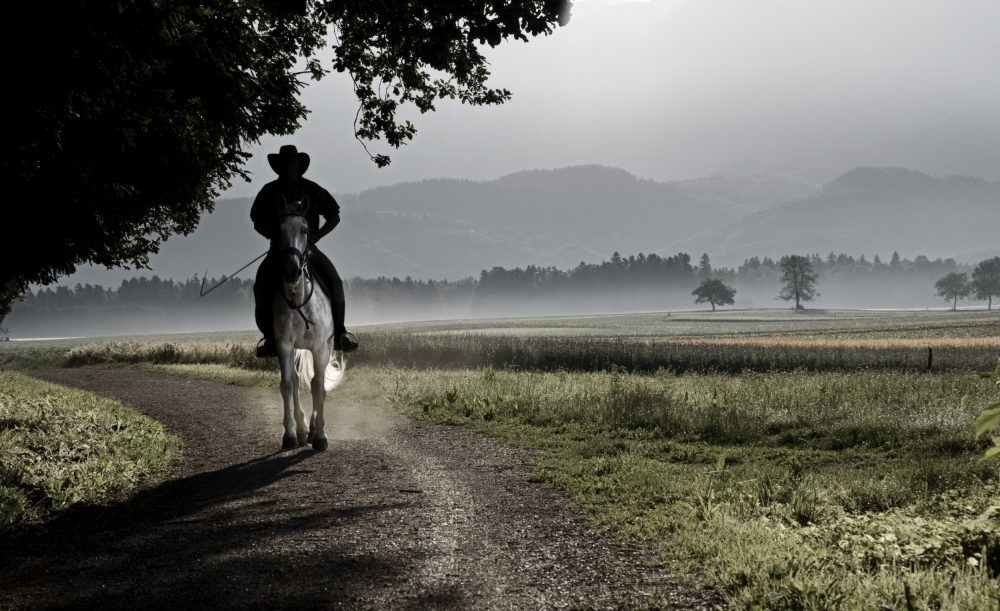 A piece of fine art art photography titled Mysterious Horseman by milan malovrh