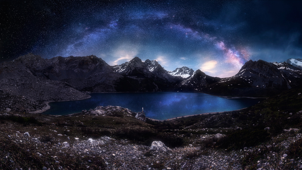 A piece of fine art art photography titled Gem In Between the Mountains by Selions