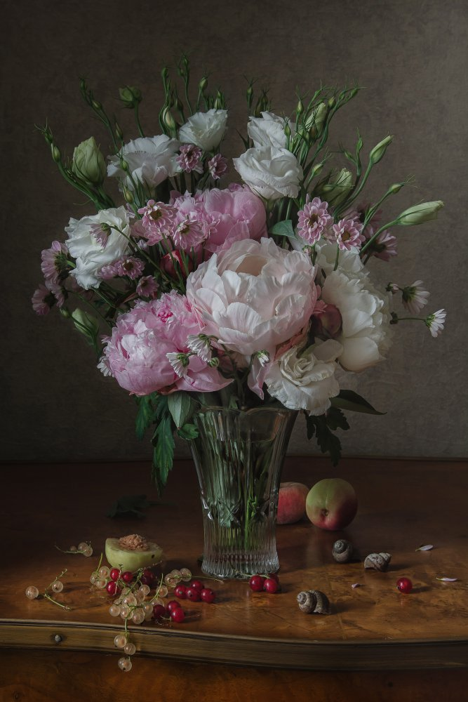 View this piece of fine art photography titled Peonies and eustoma by Anna Petina