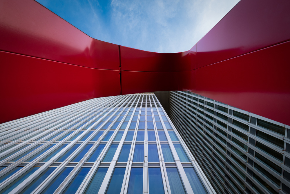 View this piece of fine art photography titled De Rotterdam, the sky and the letter N by Frank Vandersmissen