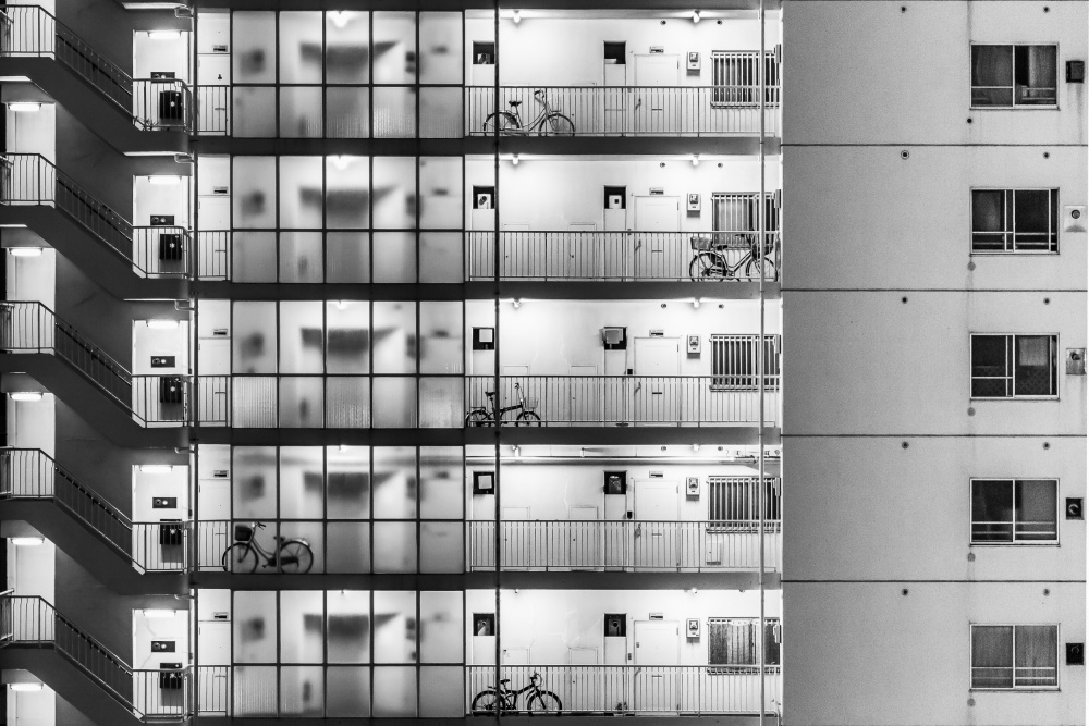 A piece of fine art art photography titled Tokyo - Five Bikes by Michael Jurek
