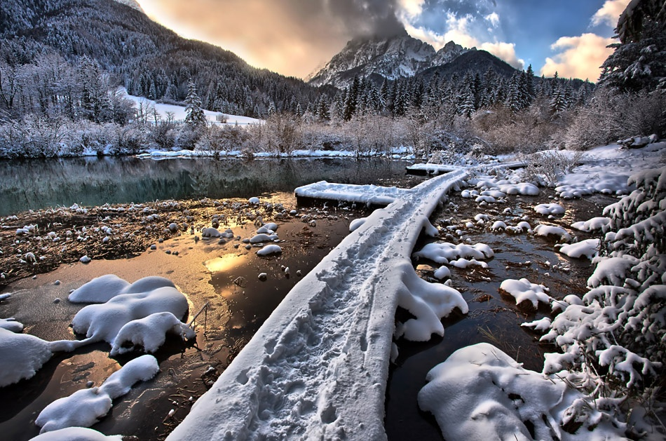 A piece of fine art art photography titled A Winter Road by Jaro Miscevic
