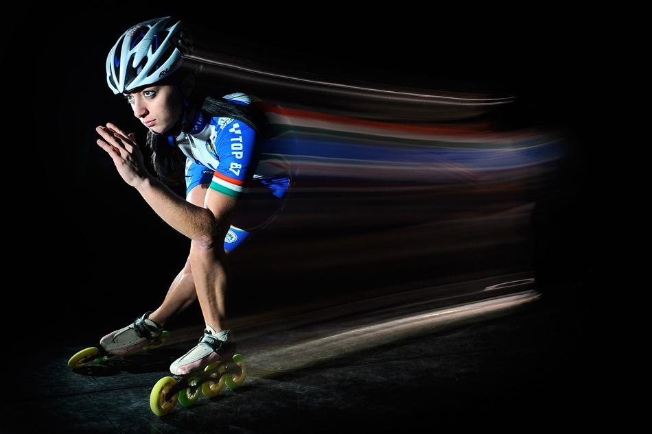 A piece of fine art art photography titled Desirèe Contenti European Inline Skate Champion by Manuel Cafini