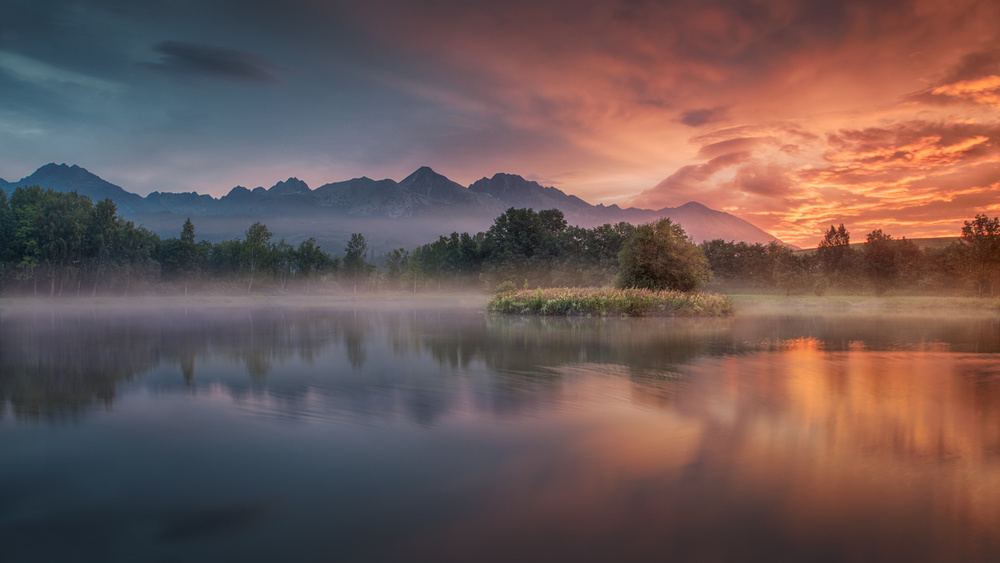 A piece of fine art art photography titled Daybreak by the Lake by Peter Svoboda, MQEP