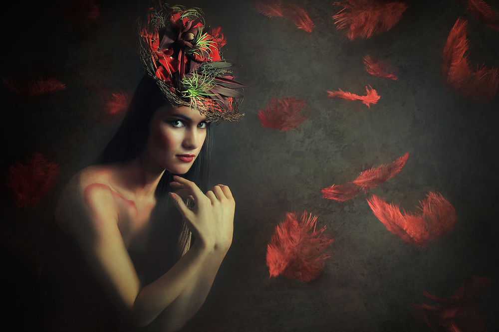 A piece of fine art art photography titled Red Rain by Adela  Lia Rusu