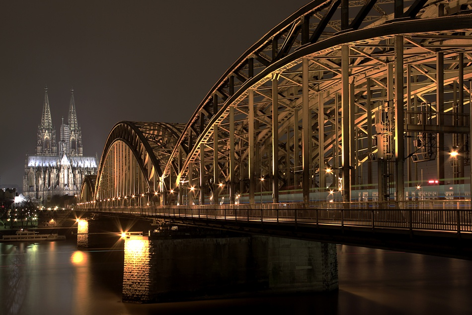 A piece of fine art art photography titled Hohenzollern Bridge and the Dome of Cologne by Alessandro Della Casa