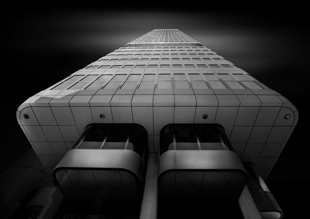 A piece of fine art art photography titled Silver Tower Frankfurt by Adam Fritzen