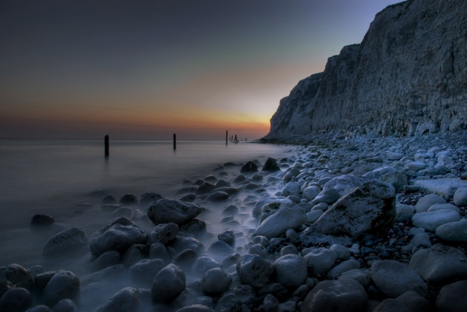 A piece of fine art art photography titled Sunset at Escalles by Devid Camerlynck