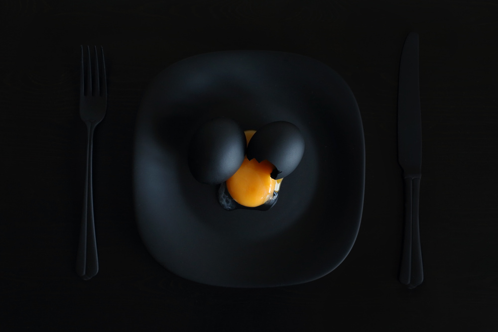 A piece of fine art art photography titled Malevich's Breakfast or the Black Square by Victoria Ivanova