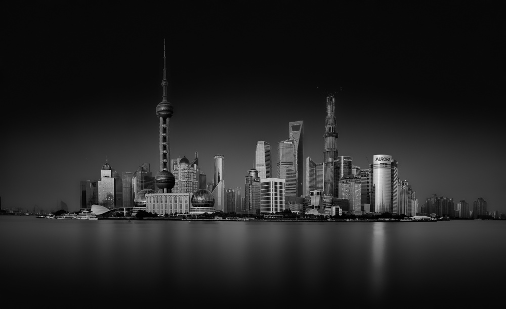 A piece of fine art art photography titled Dark Pudong by Stefan Schilbe