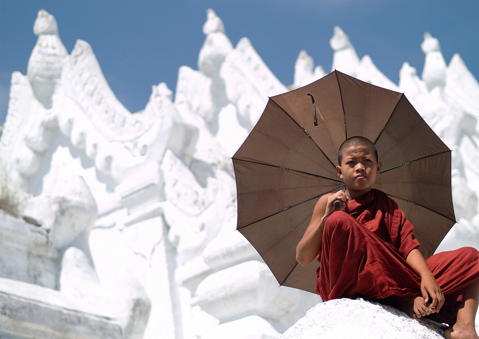 A piece of fine art art photography titled Monk Chilling In the Temple by Gorka Nelson