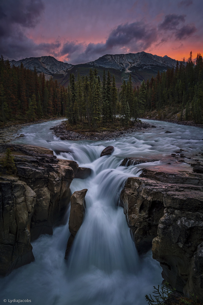 Sunrise at Sunwapta Falls