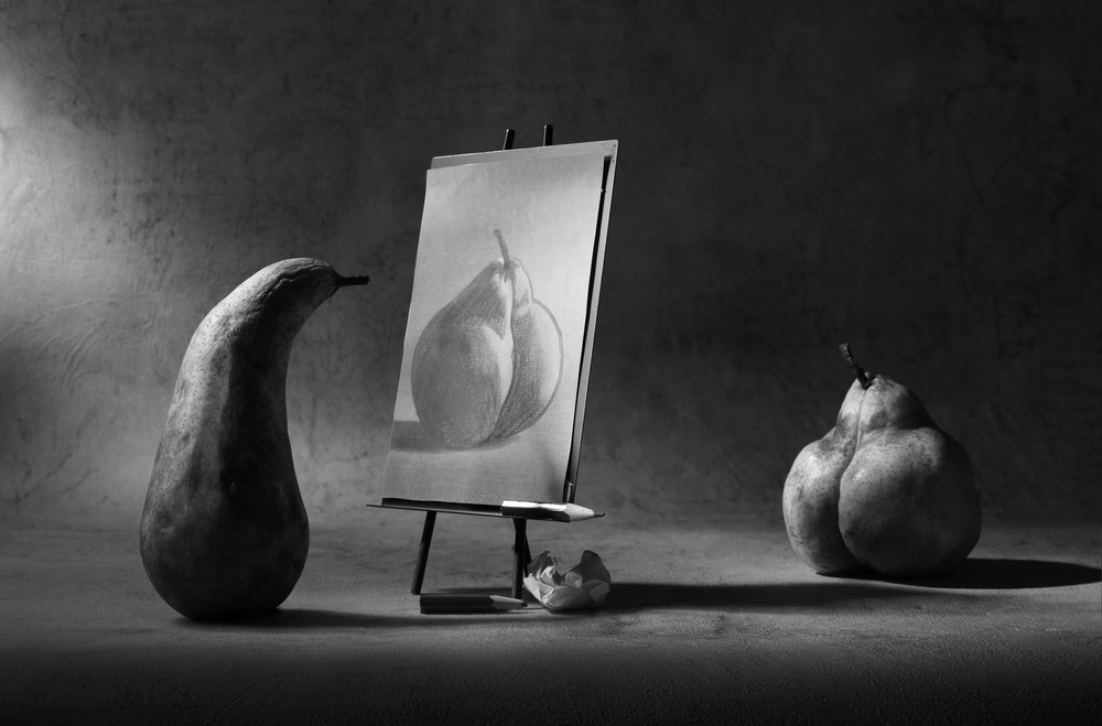 A piece of fine art art photography titled The Nude Making a Sketch by Victoria Ivanova
