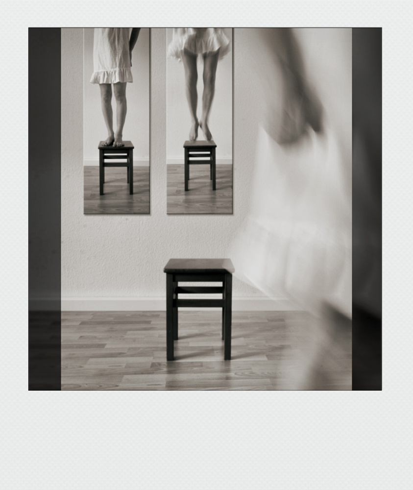 A piece of fine art art photography titled Walking Away (Polaroid Version) by Frank Gustrau