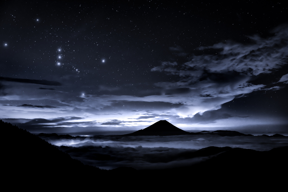 A piece of fine art art photography titled Orion and Mt Fuji by Takashi