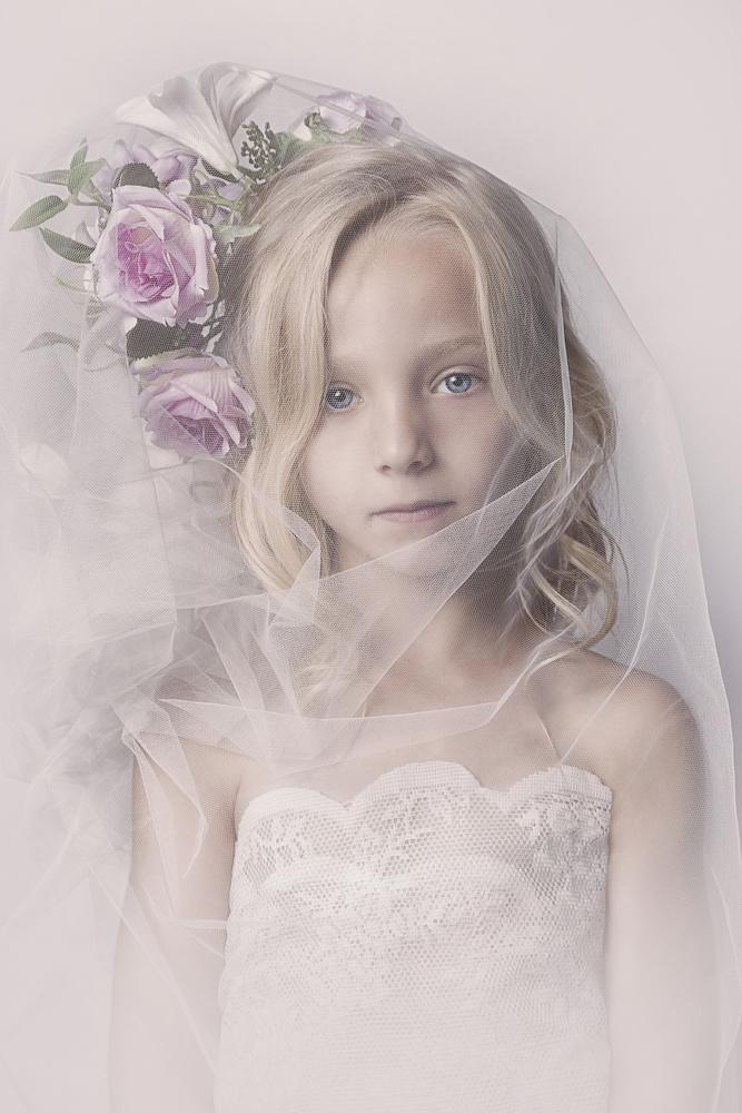 A piece of fine art art photography titled Veil Girl by Carola Kayen-Mouthaan