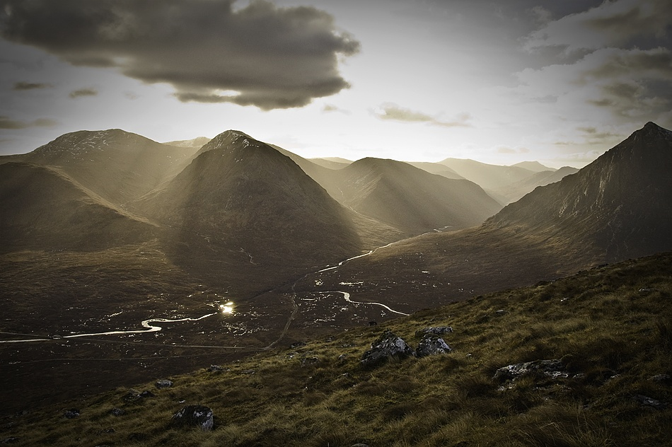 A piece of fine art art photography titled Glen Etive at Noon by William Watson