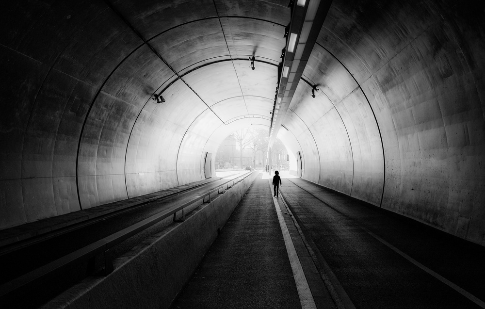 A piece of fine art art photography titled    the End of the Tunnel    by jerome perdriolle