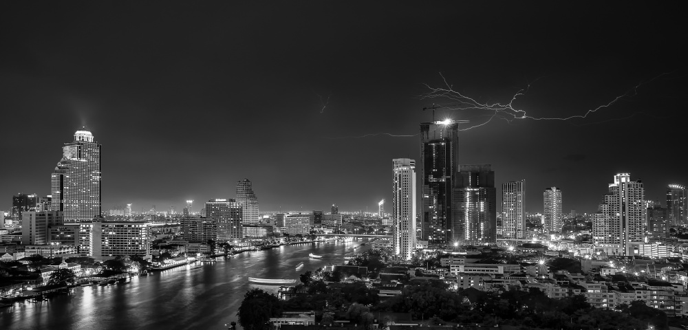 A piece of fine art art photography titled Bangkok Lightning by Stefan Schilbe