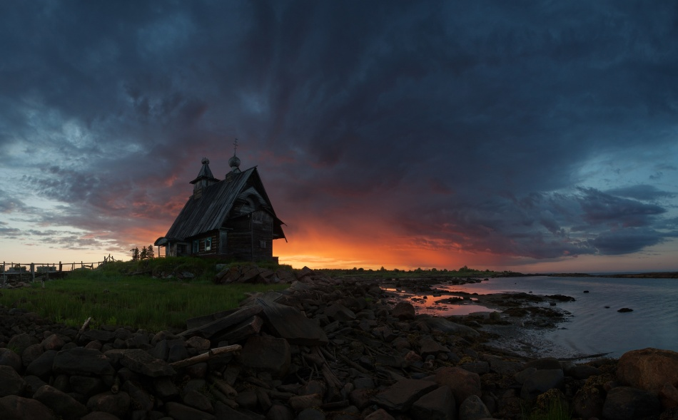 A piece of fine art art photography titled The Old Church On the Coast of White Sea by Sergey Ershov