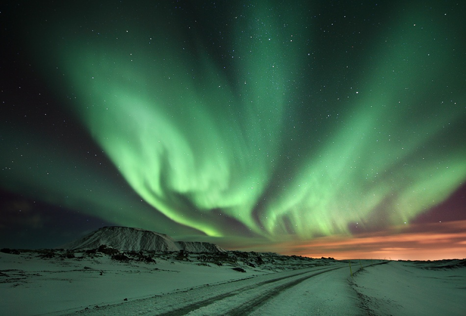A piece of fine art art photography titled Spiked Aurora by Örvar Atli Þorgeirsson