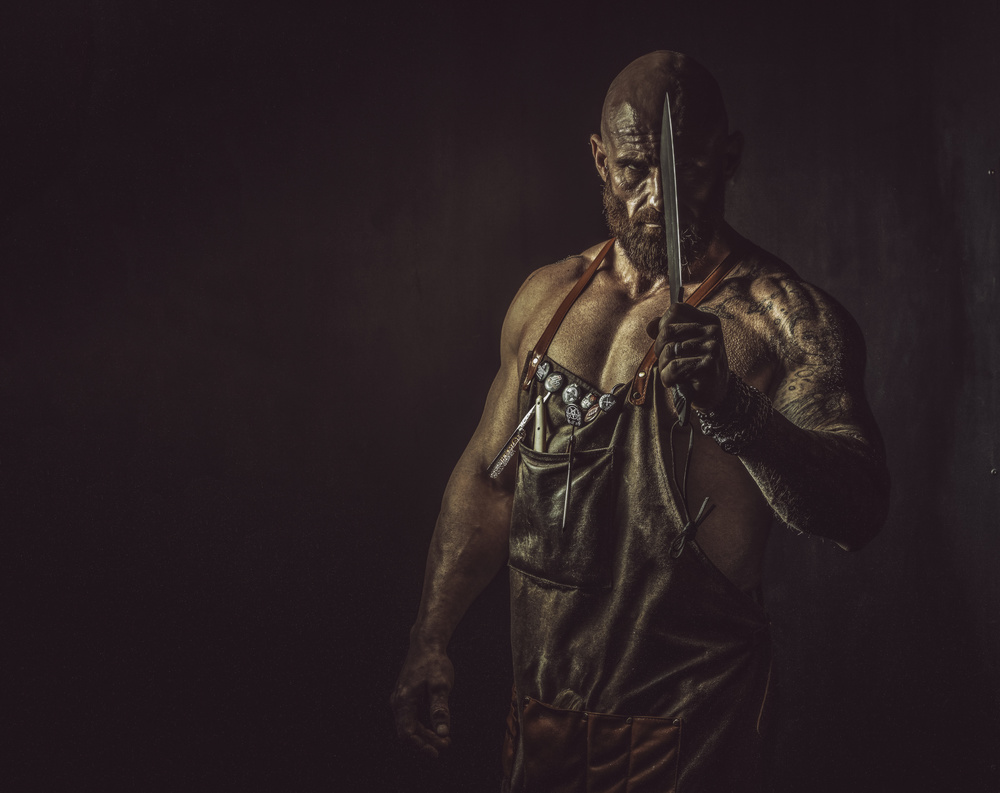 View this piece of fine art photography titled The Butcher Man, and his dark thoughts by gNo