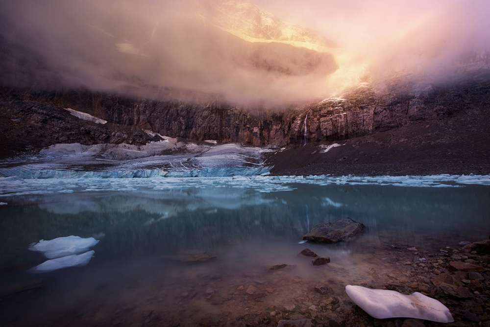 A piece of fine art art photography titled Angel Glacier by Victor Liu