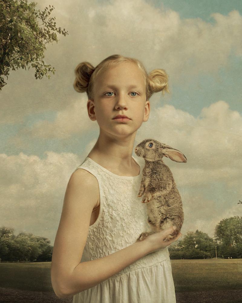 A piece of fine art art photography titled Meijs & Her Rabbit by Gemmy Woud-Binnendijk