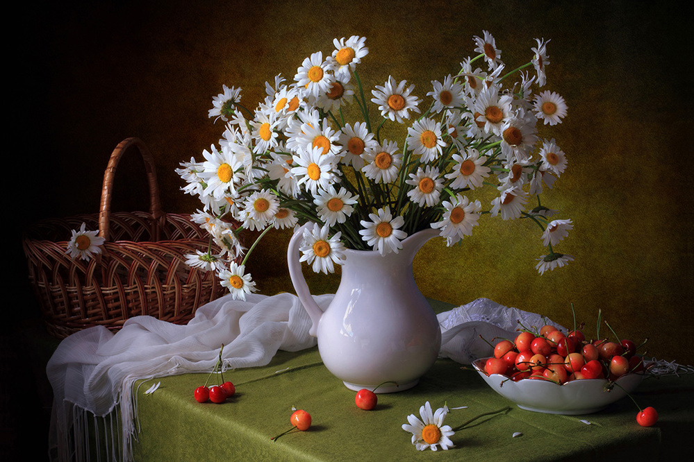 A piece of fine art art photography titled With Camomiles and Merry by Tatyana Skorokhod (Татьяна Скороход)