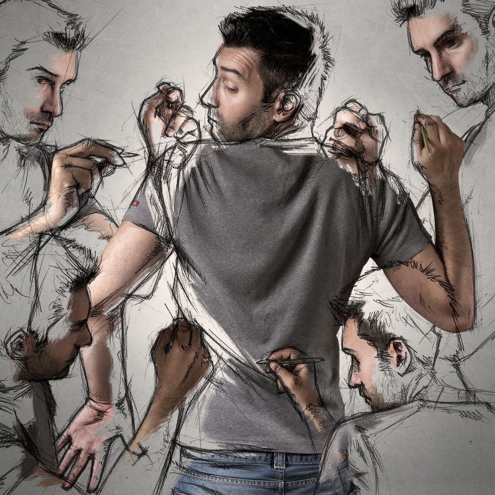 A piece of fine art art photography titled My Sketches and Me by Sebastien DEL GROSSO
