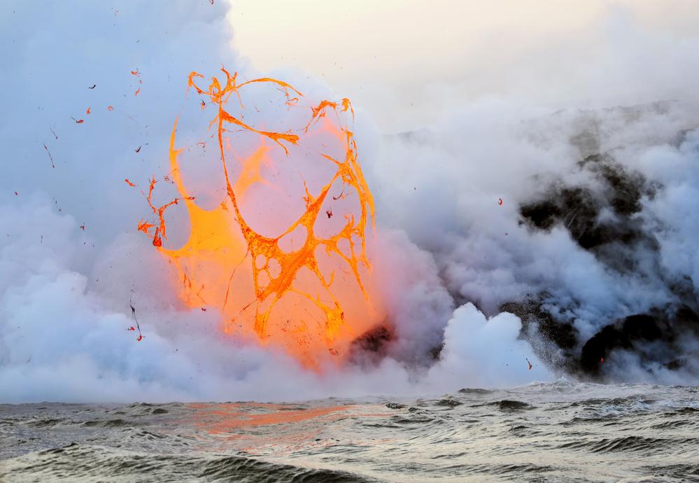 A piece of fine art art photography titled Exploding Lava Bubble by Patrick Arrigo