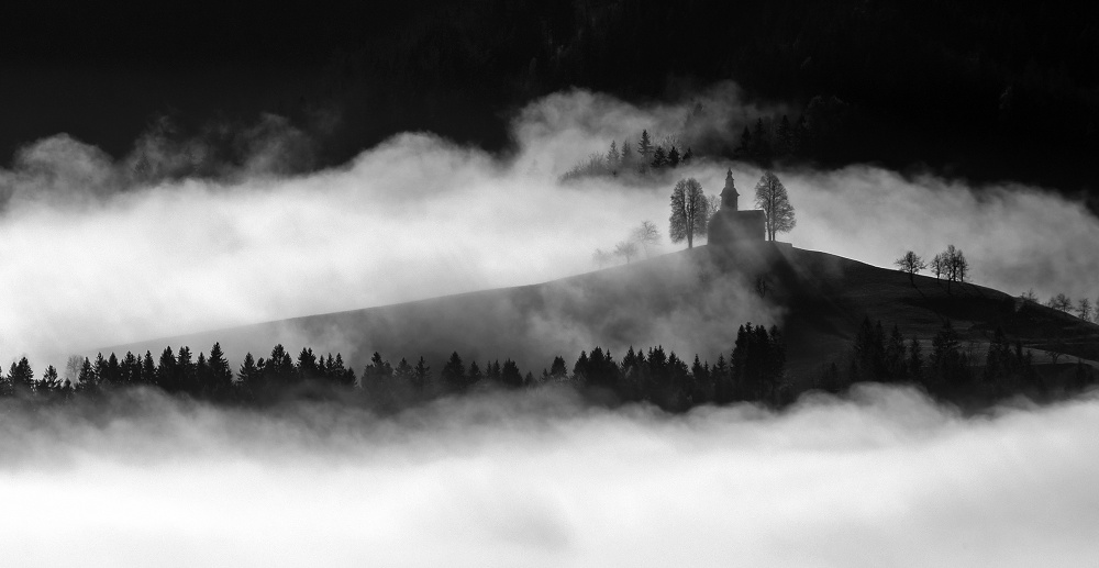 A piece of fine art art photography titled Church Above Morning Fog by Andrej Tarfila