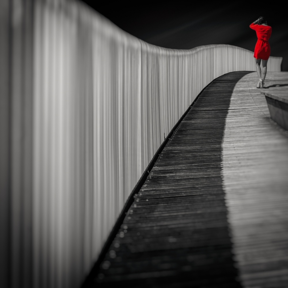 A piece of fine art art photography titled Woman In Red by Marco Antonio Cobo