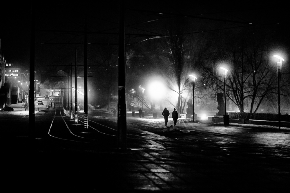 A piece of fine art art photography titled Night Walk by Marius Noreger
