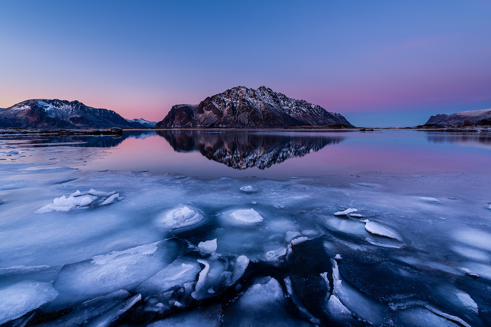 A piece of fine art art photography titled Ice Dusk by Reto Savoca